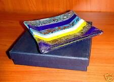 BOMBONIERA PIATTO MURANO quadrato c/ scatolo blu cm16,5