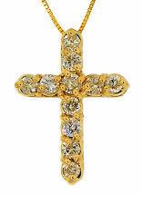 1.10ct ROUND DIAMOND CROSS PENDANT/CHAIN 14K YELLO GOLD