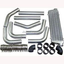 "Universal 2.5"" Aluminum Piping Kit + 28"" FMIC Turbo Intercooler + Black Hoses"