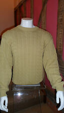 Mens XXL 100% Cotton  Knit Crew Neck Sweater in Pale Mustard  by Dehavilland