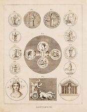 """CALMET'S BIBLE DICTIONARY - """"ASHTAROTH"""" (COINS) Copper Engraving - 1801"""