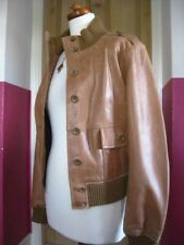 Ladies NEXT brown tan real Leather Jacket size UK 14 12 biker bomber harrington