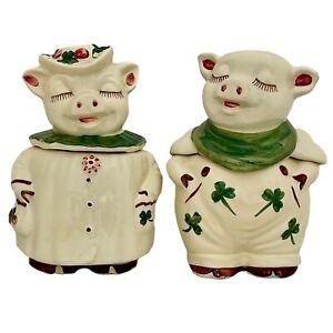 """Set of Vintage Shawnee Pig Cookie Jars """"Smiley & Winnie""""-circa 1940"""