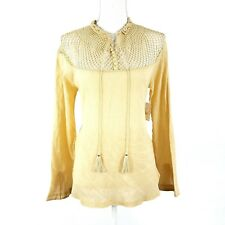 Free People On The Island Top Peasant Tea Beige 100% Cotton Size M
