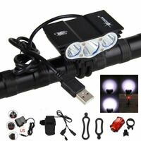 12000LM 3X XML T6 LED USB Bicycle Bike Lamp Headlight Rechargeable Battery USB