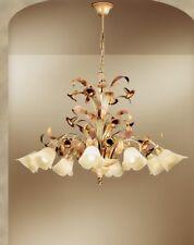 Lampadario classico 8 luci in metallo avorio rosato coll. Dese 3860-8