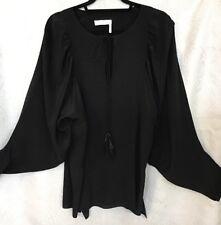 Chloe Blouse Black Silk Full Dolman Sleeve Split Cuff Tassel Necktie Size 36