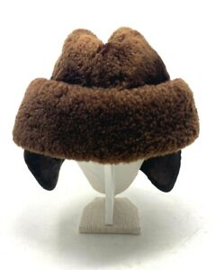 Eastified Diplomat Karakul Hat Astrakhan Fur Karakul Cap Brown Ear Flaps Faux