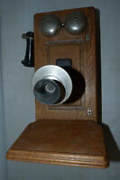 Antique Oak Wood Western Electric Wall Crank Telephone Vintage Wooden Phone
