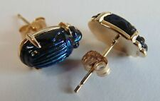 RARE PR ANTIQUE L. C. TIFFANY FAVRILE ART GLASS COBALT SCARAB 14kt GOLD EARRINGS