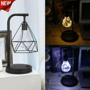 Retro Bedroom LED Light Bulb Bedside Battery Table Lamp Geometric Industrial UK