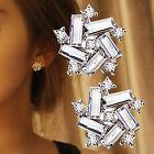 GUT 1Paar Dame Strass 925 Silber Ohrstecker Kristall Blumen Ohrring Ohrschmuck