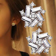 1Paar Damen Strass 925 Silber Ohrstecker Kristall Blumen Ohrring Ohrschmuck GUT