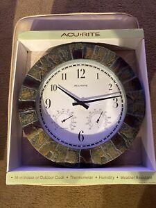 """AcuRite Acu 14"""" Indoor/Outdoor Clock Thermal Meter. Humidity. Weather Resistant"""