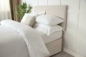 Headboard Wrap Faux Suede in Linen Beige Single Bed Size 91cm x 60cm