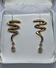 14k Yellow Gold Diamond Dangle Earrings .40 Ct