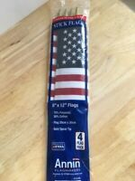 American Flag Annin - Polyester (70%) & Cotton (30%) - 8'' x 12'' ---4 count