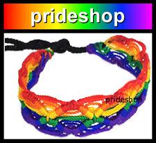 Rainbow Diamonds Macrame Cotton Friendship Bracelet Lesbian Gay Pride #17