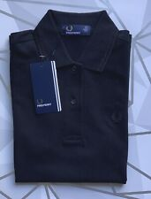 Fred Perry Black TwinTipped Polo Shirt Top Size uk 6