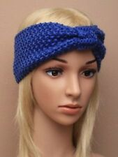 NEW Womens ladies Navy blue heavy knitted knotted bow headband winter bandeaux