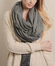 Boho, Natural Style Gray Frayed-Edge Infinity Scarf NWT MSRP $39