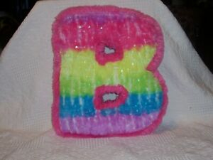 """(S401) - Letter """"B"""" Thick Multi-Colored Plush Pillow w Sequins on 1 Side-13""""T"""
