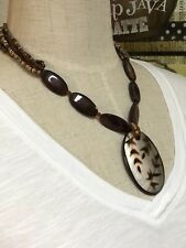 """Coldwater Creek Brown Necklace Wood Pendant Seed Bead Chain 19"""""""
