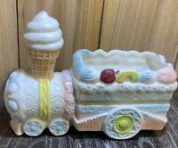 Vintage Train Planter Ice Cream Napcoware Ceramic Baby Unisex Nursery Pink Blue