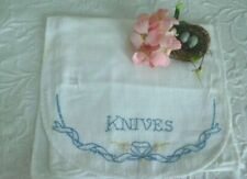 """Vintage Cottage Charm* Antique Embroidered """" Knives """" Picnic Linen Cutlery Case"""