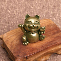 Solid Brass Lucky Cat Figurine Small Statue House Decoration Animal Figurines