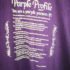 Women 1982 Purple Profile T-Shirt Single Stitch Screen Stars Made Usa Size Large