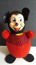Vintage Mickey Mouse Plush Gund Roly Poly Chime Doll Walt Disney Productions Co