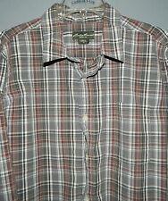 Men's Eddie Bauer LS Button Dress Shirt-XL-100% Cotton-Gray Plaid