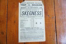 More details for 1904 skegness seaside trip great northern railway handbill timetable gnr