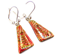 DICHROIC Glass Earrings Orange Yellow Striped Triangle Euro Lever Dangle 20mm