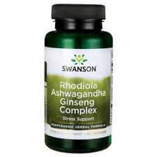 Rhodiola Ashwagandha Ginseng Complex 60 Capsules Swanson Premium Stress