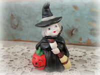 vintage Halloween ceramic WITCH decoration figurine with Jack O'Lantern