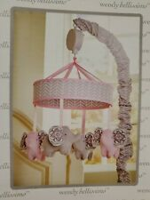 Wendy Bellissimo Baby Crib Mobile Musical Elephant in Pink & Grey Open Box