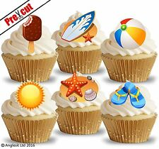 PRE-CUT BEACH HOLIDAY ACCESSORIES EDIBLE WAFER PAPER CUP CAKE TOPPER DECORATIONS