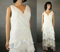 Davids Bridal Wedding Dress 14 L Sleeveless Off White Chiffon Satin Stretch Gown
