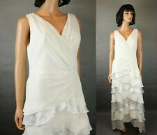 28ca820dd0d0 Davids Bridal Wedding Dress 14 L Sleeveless Off White Chiffon Satin Stretch  Gown