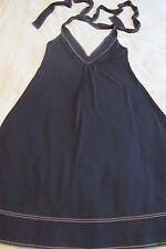 DONNA KARAN Collection Black Halter Tie Open Back Mid-Calf Dress NWOT SZ: M