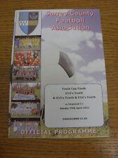 29/04/2012 Football Programme: Surrey County Youth Cup Finals - U14 Youth, U15 Y