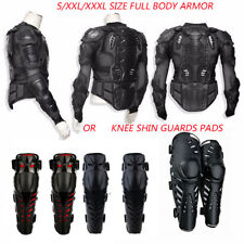 Black Motorcycle ATV Body Armor Shirt Jacket Protector Gear Knee Shin Guard Pads