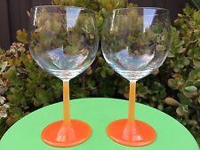 Pair - Villeroy & Boch Wine Water Goblets - Clear Goblet w/ Orange Stem 12.5 oz.