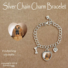 Bloodhound Dog Red Brown - Charm Bracelet Silver Chain & Heart
