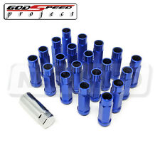 GODSPEED TYPE-X 60MM OPEN END ALUMINUM LUG NUTS 20 PCS. SET M12 X 1.5 BLUE SET