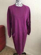 BILL BLASS Dress MAGENTA MIDI DRESS OVERSIZED Sz Medium VINTAGE 80s