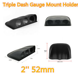 "2"" 52mm Black ABS Plastic Car Triple Dash Gauge Meter Pod 3 Hole Mount Holder"