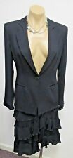 ARMANI COLLEZIONI Blue Suit with Ruffled Skirt and Matching Jacket - Size 2